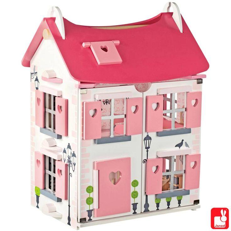 Het Janod poppenhuis Mademoiselle is een prachtig versierd houten poppenhuis en is helemaal compleet met meubeltjes en poppetjes. Het Janod Mademoiselle poppenhuis heeft 2 verdiepingen en een zolder.
