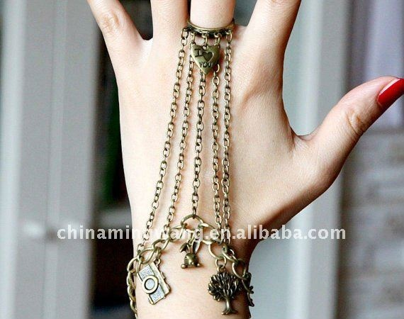 Steampunk_style_ring_and_bracelets_created_with_chain_cute_rabbit_and_vintage_style_camera_tree.