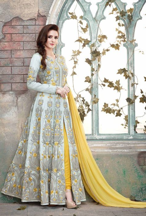 7f80a31309 Featuring grey and yellow designer party wear dress with embroidery on top  and it comes with dupatta. FABRIC: Australian Net DUPATTA: Georgette COLOR:  Grey ...