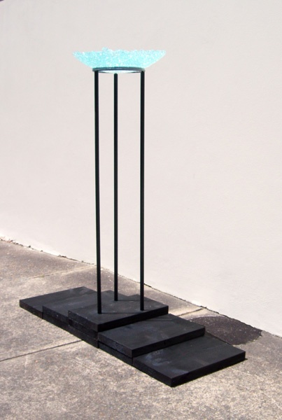 """""""Hope""""  Metal and wood with glass bowl sculpture. Maurice Schlesinger, sculptor"""