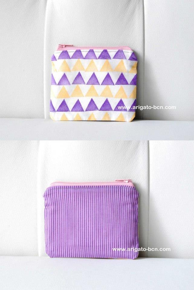 Handmade hand printed pouch by ArigatoBcn - www.arigato-bcn.com