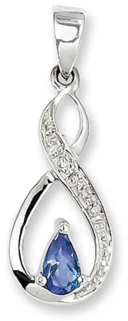Zales Pear-Shaped Tanzanite and Diamond Accent Necklace Charm in Sterling Silver