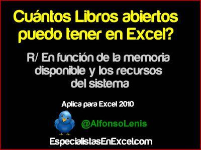 http://especialistasenexcel.com/ Cuántos libros abiertos puedo tener en Excel?
