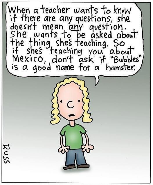 My class does this all the time! Even when I don't ask if there are any questions!