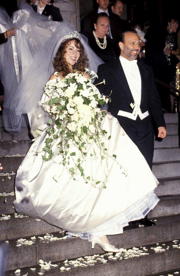 Robes de mariée de stars : Meringue Carey et Tommy Mottola en 1993