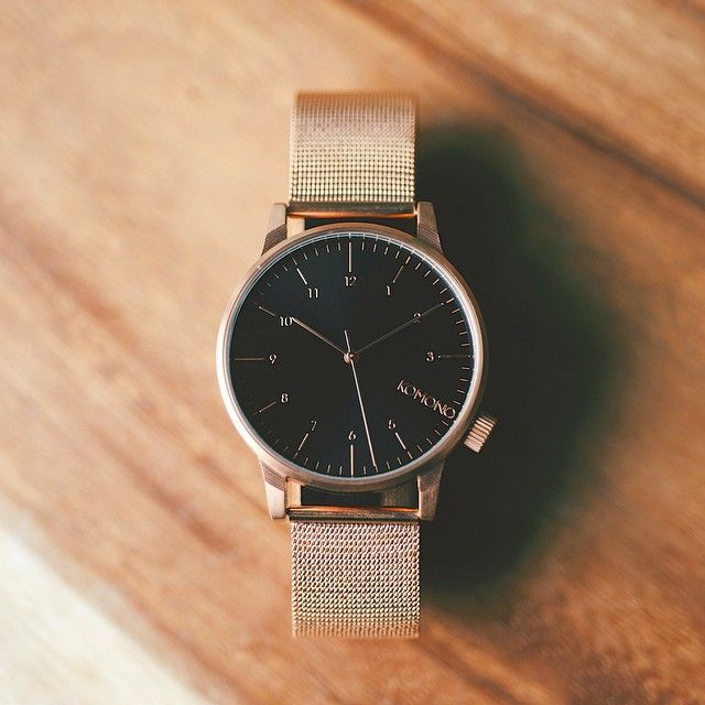 A piece unique: Winston Royale with Rose Gold mesh strap and black dial. #komono #watches Available at www.komono.com