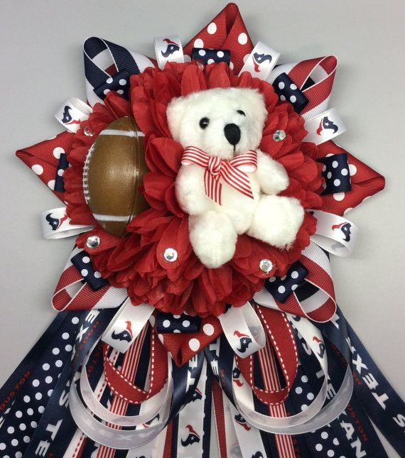 Houston Texans Inspired Baby Shower Mum Corsage