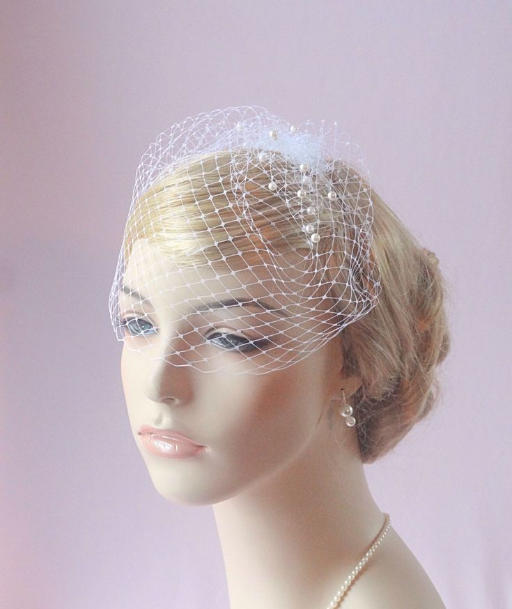 bridal birdcage veil with pearls, small birdcage, wedding bird cage veil, Russian veiling, ivory, beige, white, pink, silver, gold Style 612 by JoyandFelicity on Etsy https://www.etsy.com/listing/151188791/bridal-birdcage-veil-with-pearls-small
