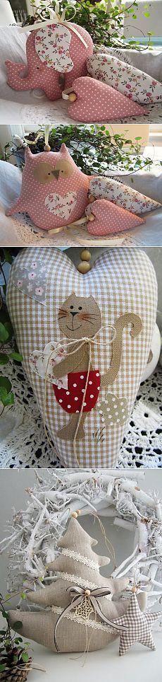 Игрушки из ткани Милые животные и сердечки