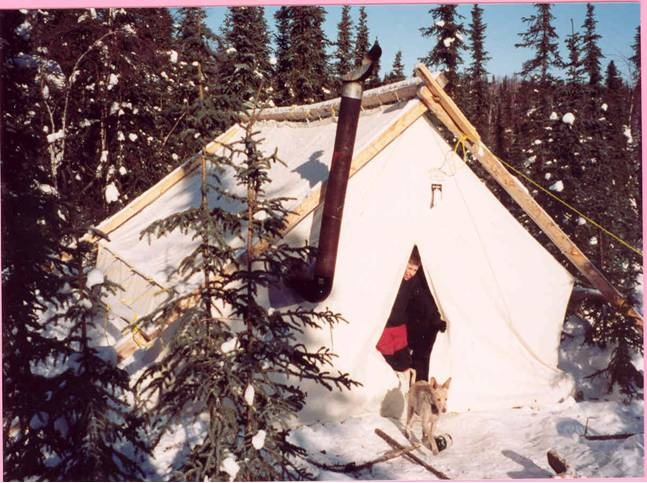 Winter camping in a walled tent.