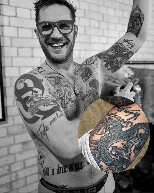 Tom Hardy Dragon tattoo and tatootattoo for his ex-wife Sarah Ward