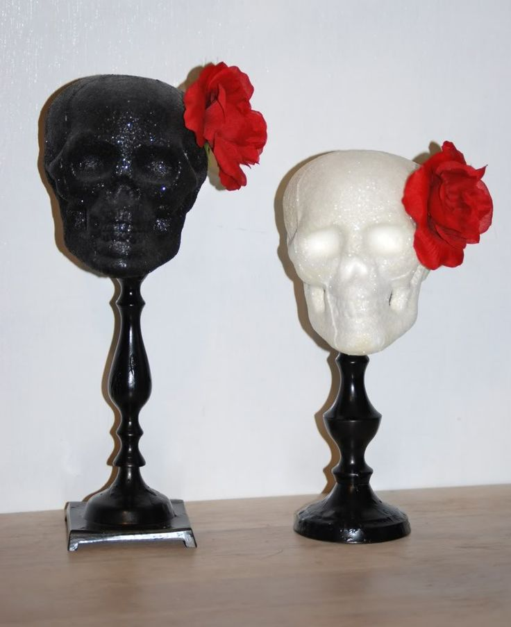 a classy halloween decoration love the glitter and roses - Halloween Skull Decorations