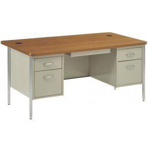 "Double Pedestal Metal Teachers Desk 60""x30"" - This full size teacher desk."