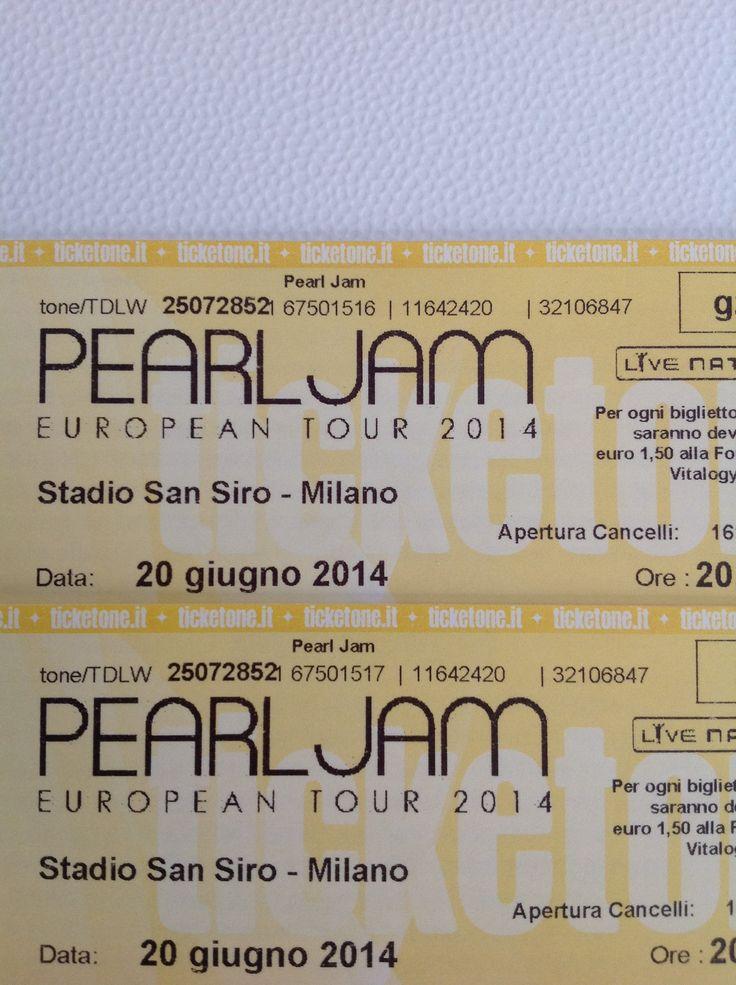 Pearl Jam - Tickets - SanSiro - Milano - European Tour 2014