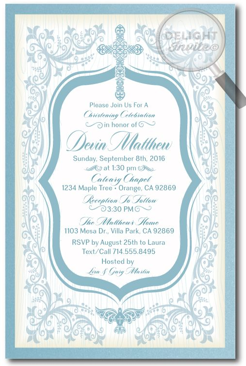 Vintage Blue Boy Baptism Invitations [DI-807] : Custom Invitations and Announcements for all Occasions, by Delight Invite, Boy Baptism Invitations, boy theme baptism christening invitations, christening invite ideas, baptism party theme, photo baptism invitations, professionally printed baptism invites, hand-mounted, 2 piece metallic card stock baptism invitations