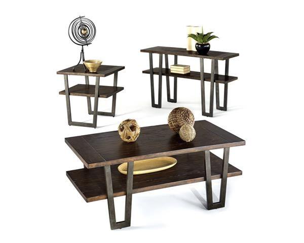 Sedona Transitional Light Elm MDF Metal Coffee Table Set