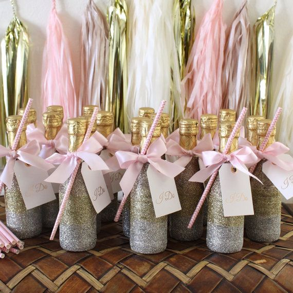 Mini glittered champagne bottles (187ML) Custom colors and quantities available. Message me with your ideas and Ill bring it to life. Cheers!
