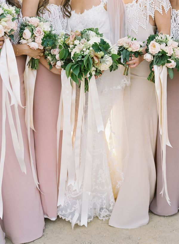great things things about these bouquets: 1) ratio of floral to greenery, 2) length of ribbon (below knee) and 3) material of ribbon (satin?)    Romantic Rustic Wedding | Elegant Mexico Destination Wedding