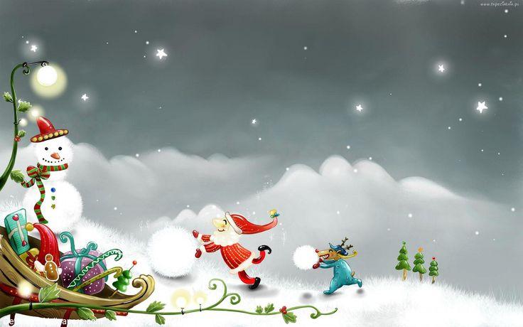 Świąteczne, Boże Narodzenie, Mikołaj, Bałwan