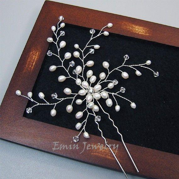 Large Bridal Hair Pin, Wedding Hair Accessories, White Pearl Bridal Hair Jewelry Pieces, Bride Bridesmaid Wedding Jewelry, Fascinator