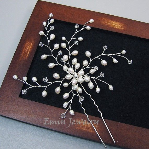 Large Bridal Hair Pin, Wedding Hair Accessories, White Pearl Bridal Hair Jewelry Pieces, Bride Bridesmaid Wedding Jewelry, Fascinator