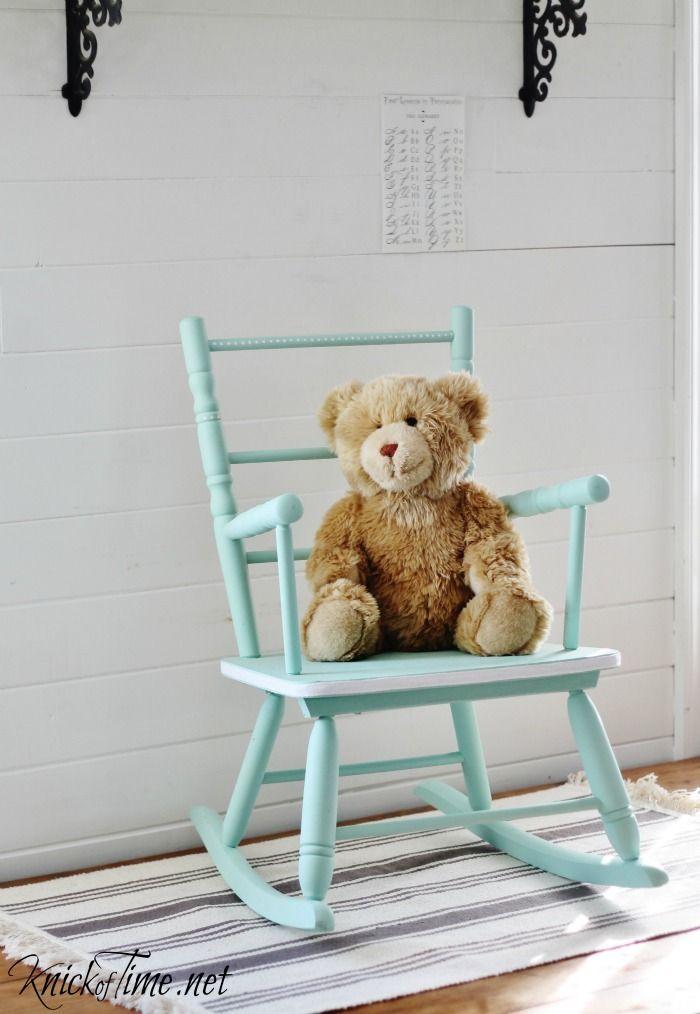 Vintage Child's Rocking Chair Makeover via KnickofTime.net