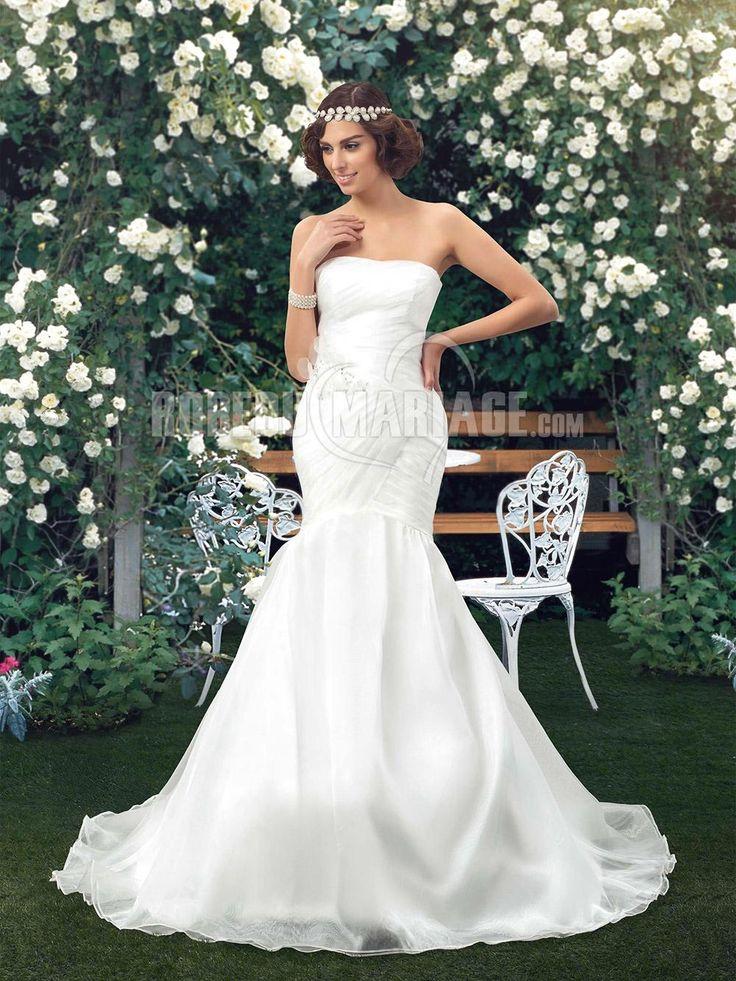 Robe de mariée sirène en organza avec décorations pas cher [#ROBE2012649] - robedumariage.com