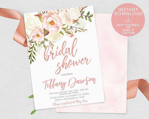 Printable Watercolor Floral Bridal Shower Invitation EDITABLE TEMPLATE