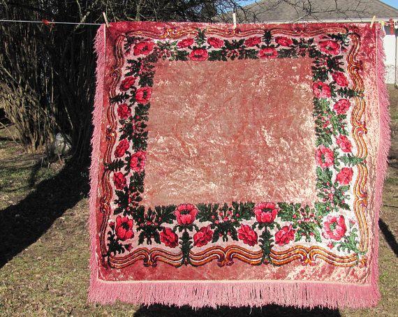 "Soviet Vintage Tablecloth, 53""x 53"" Square Tablecloth; Old Plush Velvet Linens Mid Century USSR Vintage, Soviet Era Home Decor; Boho Linens"