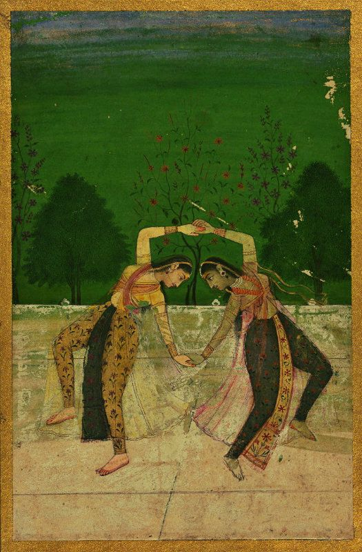 18th C. Rajasthan India. Two Woman Dancing on a terrace a lush green landscape behind. opaque watercolor.