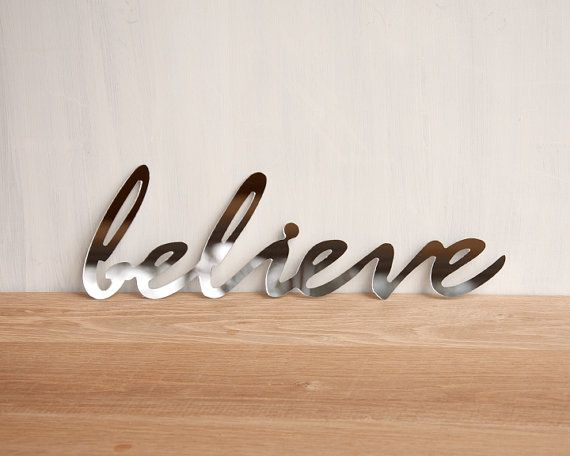 Captivating Mirror Word Wall Decor U0027Believeu0027   Wall Art, Signage, Typography,  Handwriting