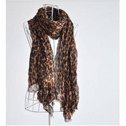 SODIAL- Fashion Leopard Pattern Shawl Scarf Wrap for Women