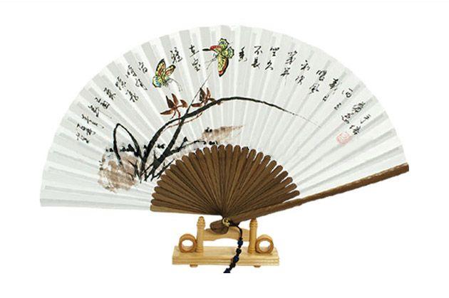 Traditional Folding Fan - Ojukseon / Orchid : Large size