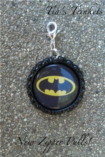 My sons batman bottle cap zipper pull :)    facebook.com/tiaslittletrinkets