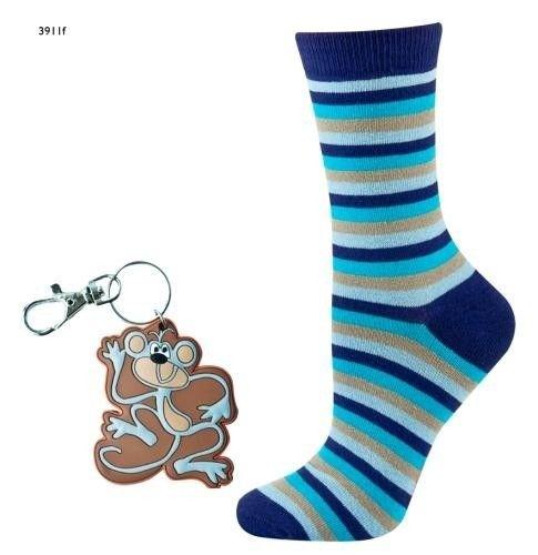 Striped socks with key ring – light blue/blue/brown/purple   WOMEN \ Socks   SOXO socks, slippers, ballerina, tights online shop