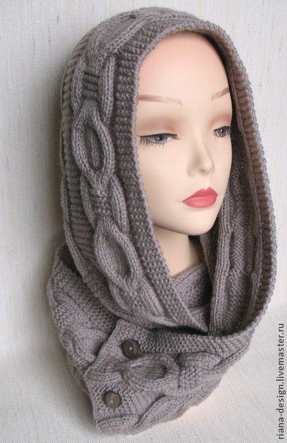 """Шарф-трансформер """"Колечки"""" - бежевый,шарф,шарф женский,шарф вязаный,шарф-трансформер"""