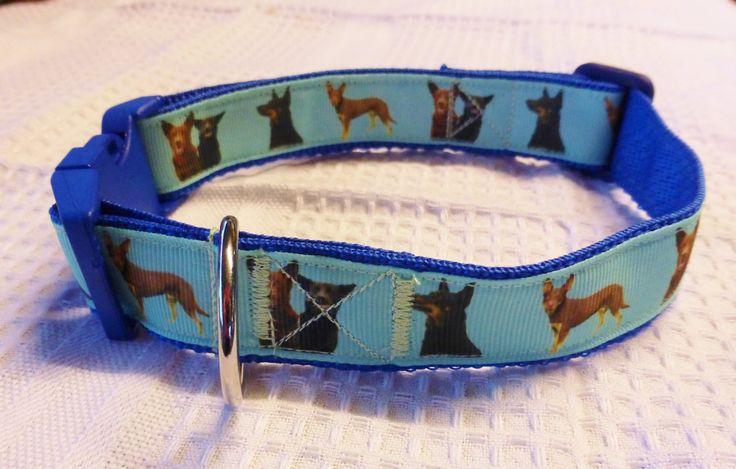 Kelpie custom print ribbon collar on blue webbing $20