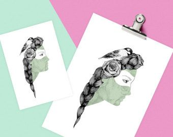 She Bird by Camila Fernandez A3 Print  Full colour poster, 250gsm stock, printed in Wellington, New Zealand, signed at the back by me.  https://www.etsy.com/nz/listing/264779201/she-bird-by-camila-fernandez?ref=listing-shop-header-3