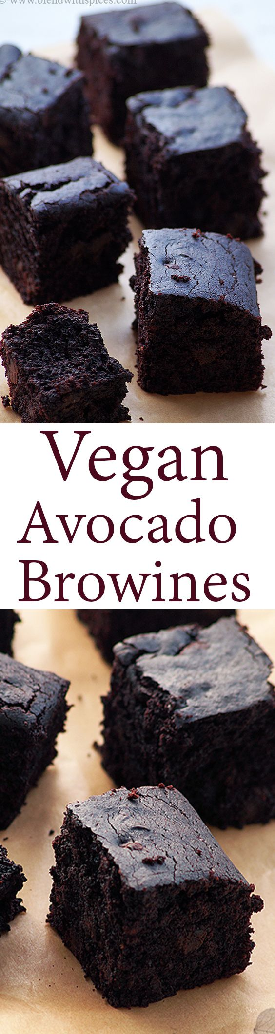 Healthy Vegan Avocado Chocolate Brownies with Whole Wheat Flour! (No Eggs No Butter).. Step by Step Recipe .. blendwithspices.com