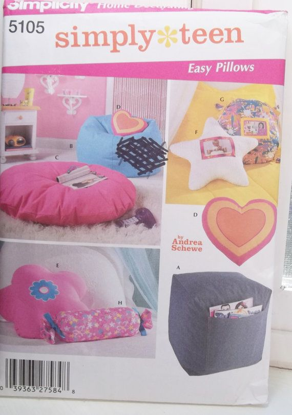 Bon Teen Room Accessories Easy Pillows Pattern Simplicity 5105 Home Decor  Pattern Ottoman Bean Bag Chair, Floor, Bolster Or Shaped Pillows UNCUT