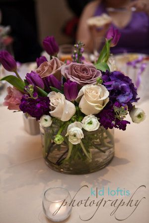 Simple short centerpiece - this is the 'idea' of what your smaller pieces will look like - however, they will be made with the flowers we are utilizing throughout your wedding.