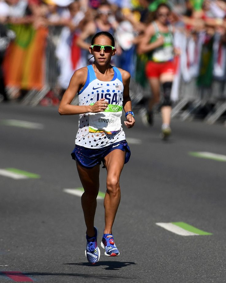 Desiree Linden of the United States competes during the Women's Marathon on Day 9 of the Rio 2016 Olympic Games at the Sambodromo on August 13, 2016 in Rio de Janeiro, Brazil.