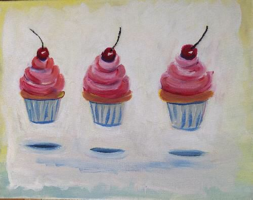 """""""Cupcake Levitation"""" provides lighthearted levity at a paint party!"""