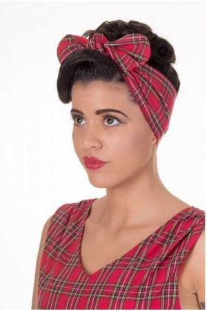 Dames haaraccessoires - Collectif Dolly and Dotty Headband Tartan Red