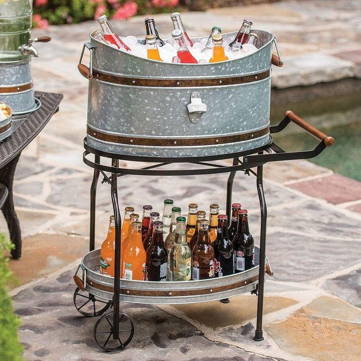 Beverage Tub And Serving Tray With Stand Rolling Cart