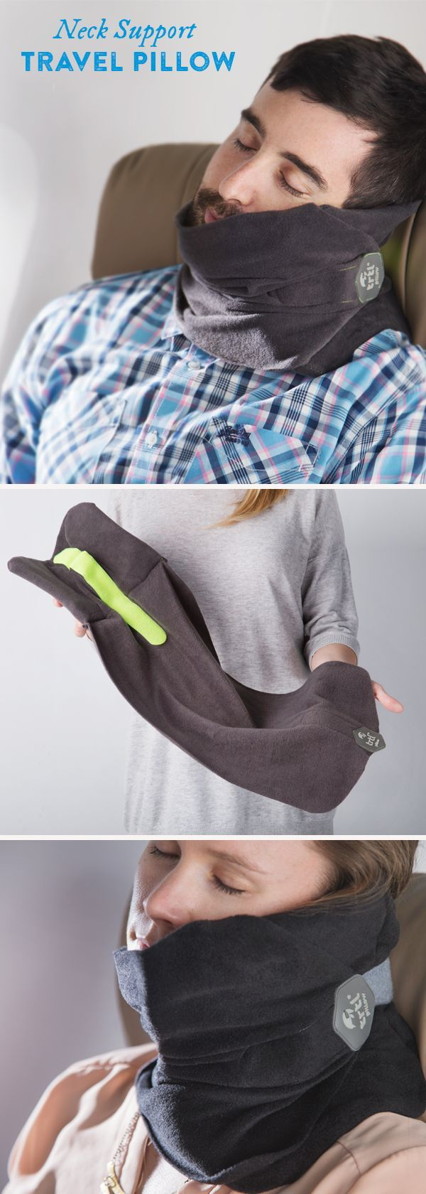 Sleep comfortably on a flight, bus ride, or a car trip—even in the middle seat—with the Trtl Pillow. This lightweight, easy-to-pack nap scarf has flexible internal supports that hold your head in a natural position—no need to lean on anyone or anything.