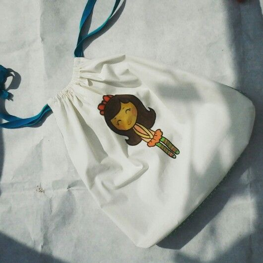 Handpainted drawstring bag