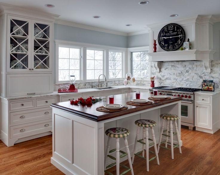 Cocina tradicional con losa de piedra, en forma de L, Desayunador, fregadero de Undermount, Isla de cocina, Complejo Azulejo de mármol, Pintura