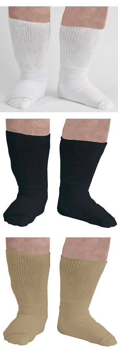 Other Diabetic Aids: Bariatric Diabetic Socks - Extra Wide Mens 3 Pair Black White Tan BUY IT NOW ONLY: $34.96
