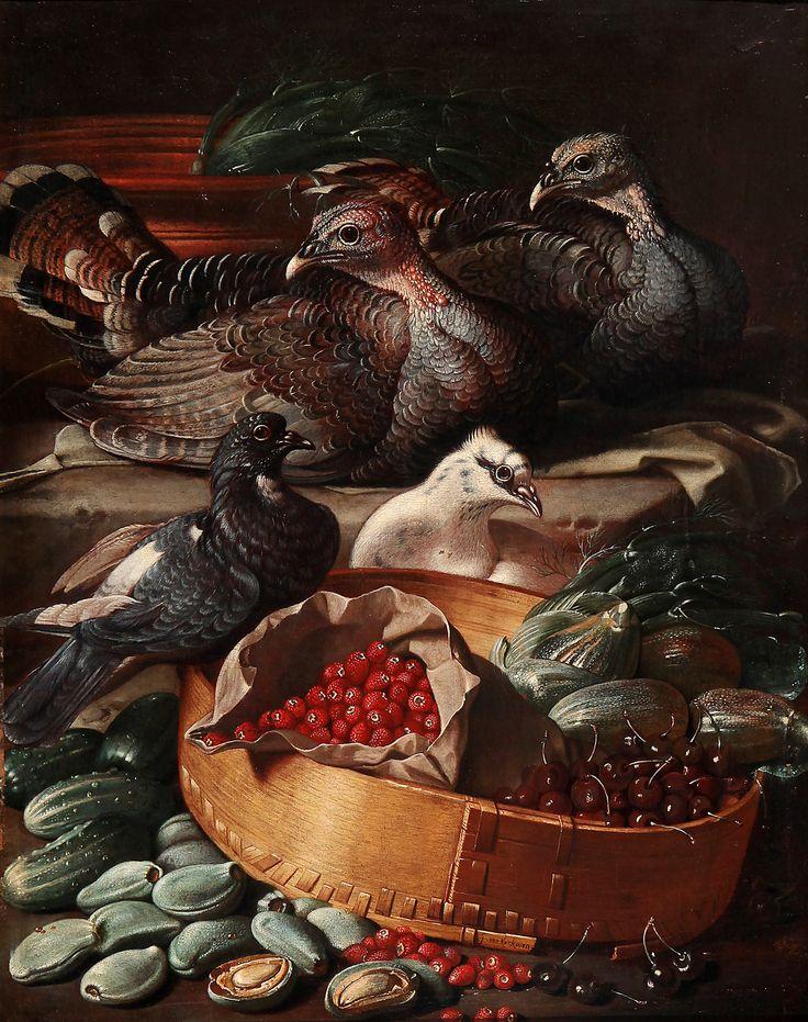 """GIACOMO DA CASTELLO"", JACOB VAN DER KERCKHOVEN (Antwerp, ca. 1637 - Venice, ca. 1712). ""Still life with birds and fruits"". Oil on canvas. Signed lower center. Seventeenth-century frame. 77 x 65 cm."